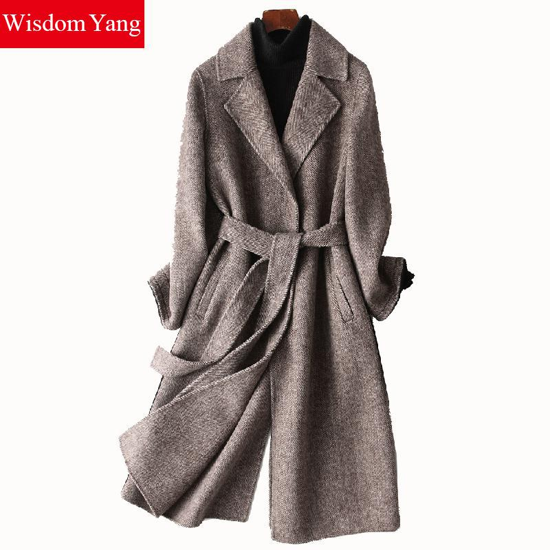 Элегантные зимние бежевый серый полосатый шерстяной Aplaca пальто Для женщин плюс длинный теплый женский пальто шерстяные женские кашемирово
