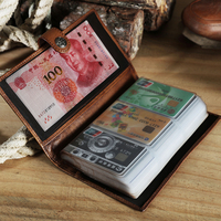 108 card holder Handmade leather wallet men's multi card retro long card credit buckle purse large capacity business men wallet
