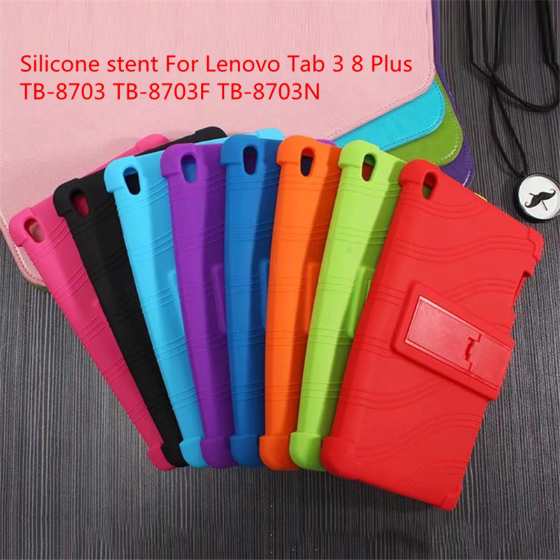 Colorful style TAB3 8 plus P8 soft Silicon Cases stand cover For Lenovo Tab 3 8 Plus TB-8703 TB-8703F TB-8703N With Stand Holder silicon cover case for lenovo tab 3 8 plus 8703x tb 8703f tb 8703n 8 0tablet pc tab3 tb 8703 protective case free 3 gifts