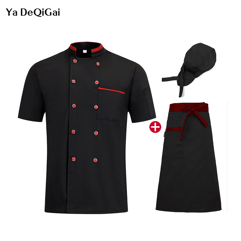 New High Quality Chef Standing Collar Restaurant Uniforms Hotel Kitchen Breathable White Chef Jackets Work Clothes Men Chef Hat