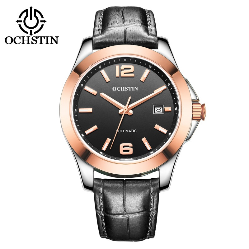 цена OCHSTIN 2016 Luxury Mens Automatic Mechanical Watch Sapphire Big Dial Men Date Watch Military Black Leather Luminous Sport Watch