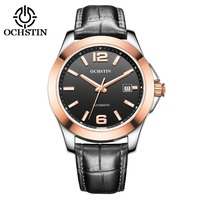 Ochstin 2016 роскошные Для мужчин S автоматические механические часы Сапфир большой циферблат Для мужчин Дата часы Военная Униформа черный кожан
