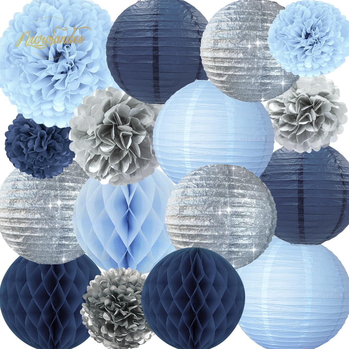 NICROLANDEE 16 pçs/set Azul Lanternas De Papel De Prata Flores Decoração Do Casamento da Festa de Aniversário do Aniversário Home Decor DIY