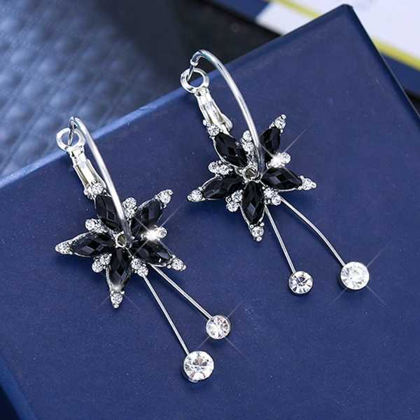 Hot Sale Big Crystal Flower Pendant Round Metal Earring Dangle Drop Statement Tassel Earring for Women Fashion Jewelry Oorbellen