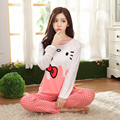 Las Mujeres de dibujos animados Pijamas 2016 Delgado Otoño e invierno de Manga Larga Camisón Niñas Pijamas De Hello Kitty Estilo Casa ropa