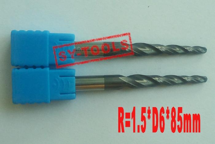 1pc R1.5 * D6 * 45 * 85L * 2F HRC55 کاربید جامد - ماشین ابزار و لوازم جانبی
