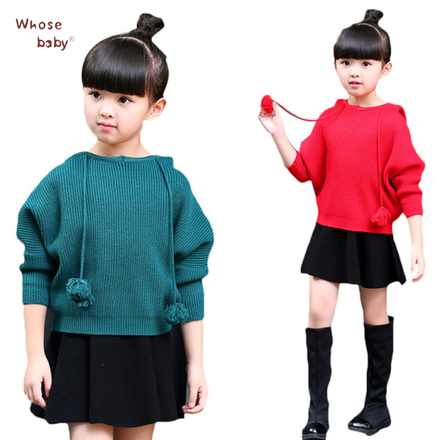 f76e1e06f04 Long Sleeved Knitted Sweater Pullover Sweaters For Girls Solid Costume Casual  Princess Children Jumpers Outwear Clothes