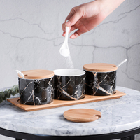 marble Golden grain road ceramics Spice jar 3pcs suit kitchen Creative Bamboo wood cover with tray storage Seasoning salt shaker