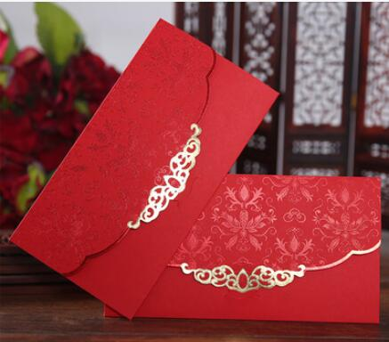 freeshipping10pcs New Red Wedding Invitation Envelope Embossed Gold
