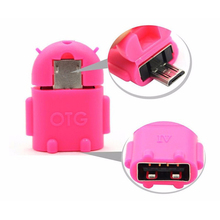 Android Cartoon robot Micro USB OTG adapter Multifunction Phone OTG adapter for phone games usb flash handle mouse