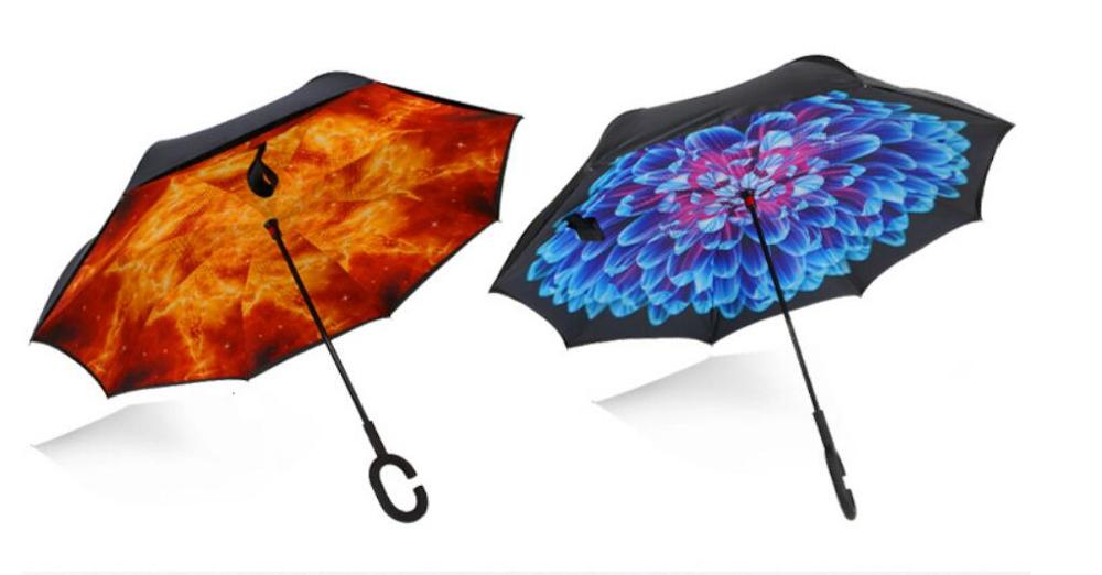 Reverse up take up straight rod automobile advertising umbrella non wet umbrella windproof umbrella overturn umbrella in Umbrellas from Home Garden