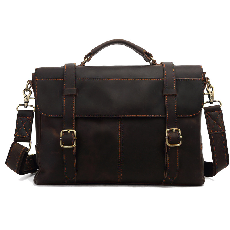 2016 Famous Deisnger Brand Genuine Leather Business Bag Real Cowhide Laptop Crazy Horse Leather Men Briefcase Messenger Bags linptech g1 1 doorbell button 2 remote wireless door bells smart mp3 ring doorbell electric waterproof home call ring bell