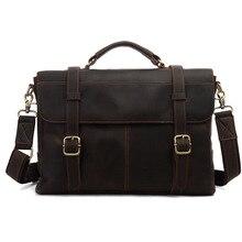2016 Famous Deisnger Brand Genuine Leather Business Bag Real Cowhide Laptop Crazy Horse Leather Men Briefcase Messenger Bags