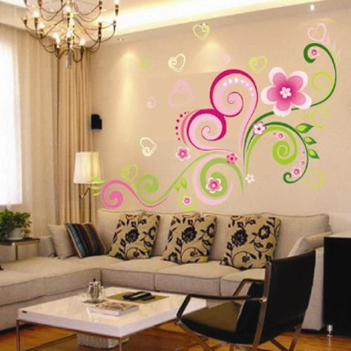 Heart Shaped Flower Vine Wall Sticker Home Decor Decal Removable Art ...