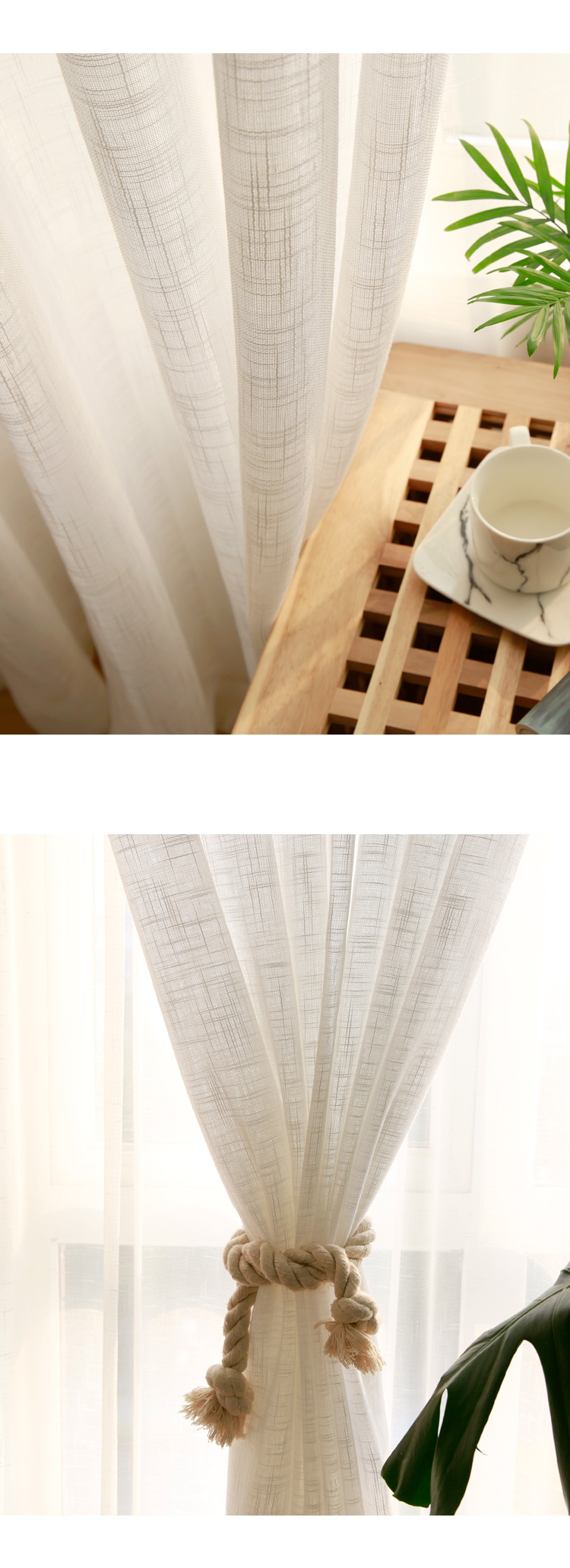 CITYINCITY Tulle  American Curtains for Living room Soft White Voile  solid Rural Tulle Curtain for bedroom ready made curtain06