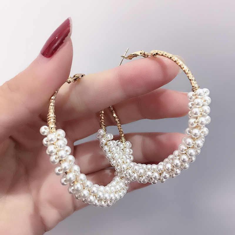 1 זוג אופנה 50mm גדול עגול לולאה מעגל עגיל חדש מותג חיקוי פנינת זהב-צבע פרח לחתוך לולאה עגילים