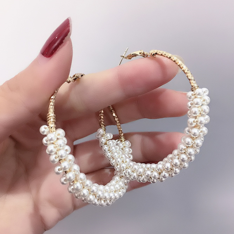 1 Pair Fashion 50mm Big Round Loop Circle  Earring New Brand Imitation Pearl Gold-color Flower Cut Loop  Earrings