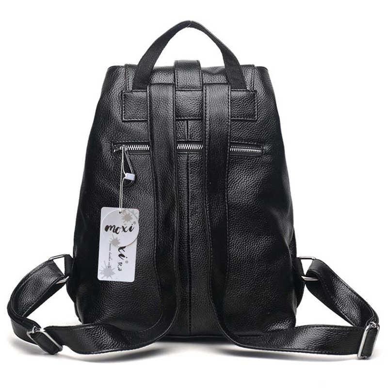 MOXI натуральная кожаный рюкзак женский повседневный рюкзак из натуральной воловьей кожи Женский Рюкзак Школьная Сумка для досуга девушка Студенческая сумка на плечо