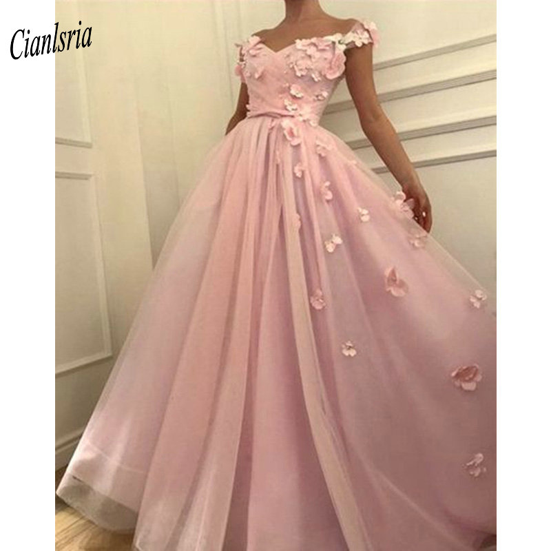 2019 New   Prom     Dresses   Off The Shoulder   Prom     Dress   Flowers Appliques Beautiful Princess   Prom   Party   Dresses   robe de soiree