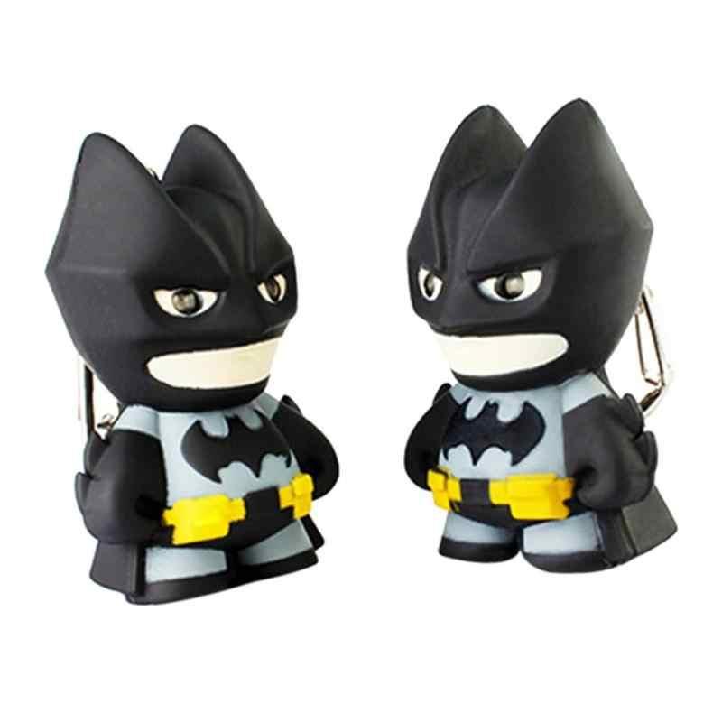 Super-heróis Batman Projeto Lanterna LED Chaveiro Som Pingente chaveiro Presente do Anel Chave