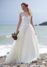 Cheap A-line white beach wedding dresses high neck cap sleeve lace long discount bridal gowns