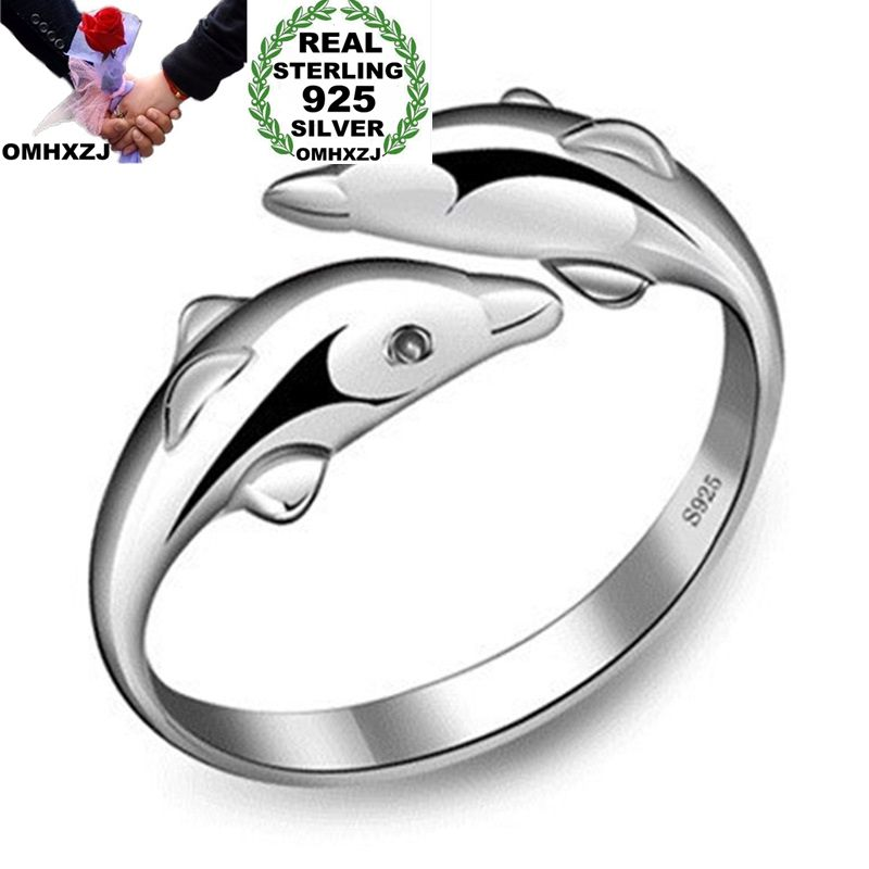 OMHXZJ Wholesale European Fashion Woman Man Party Wedding Gift Silver Dolphin Open S925 Sterling Silver Ring RR287