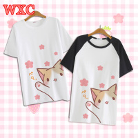 Anime Neko Atsume T shirt Harajuku Japanese Cartoon Cat Tops Tee Summer Female Casual T Shirt Kawaii Girls Clothing Tees WXC