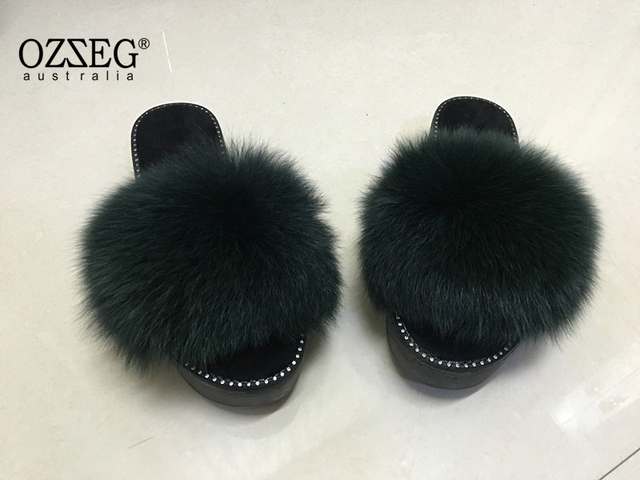 Women's Fur Slipers Getatly Luxury Real Fox Fur  Slides Slippers Sandals Shoes