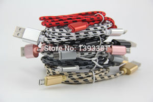 Image 2 - 100pcs 1M 2M 3M New High Speed Metal USB braided Data Fast Charger Cable Micro USB 8 pin Type C Charging Cord For Mobile Phones