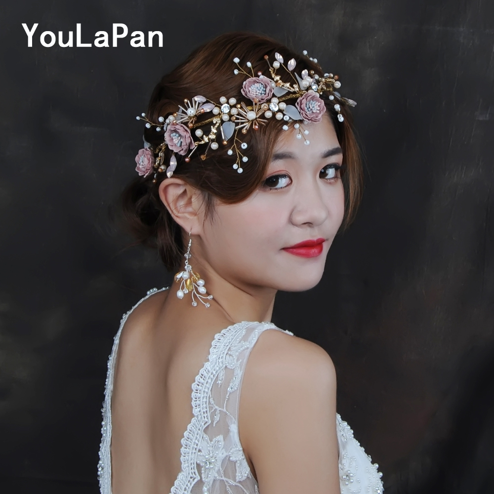 YouLaPan HP187 Wedding Tiara Set Wedding Hair Crown Flower Headband Wedding Hair Accessories Bride Crown Bride Hair Jewelry