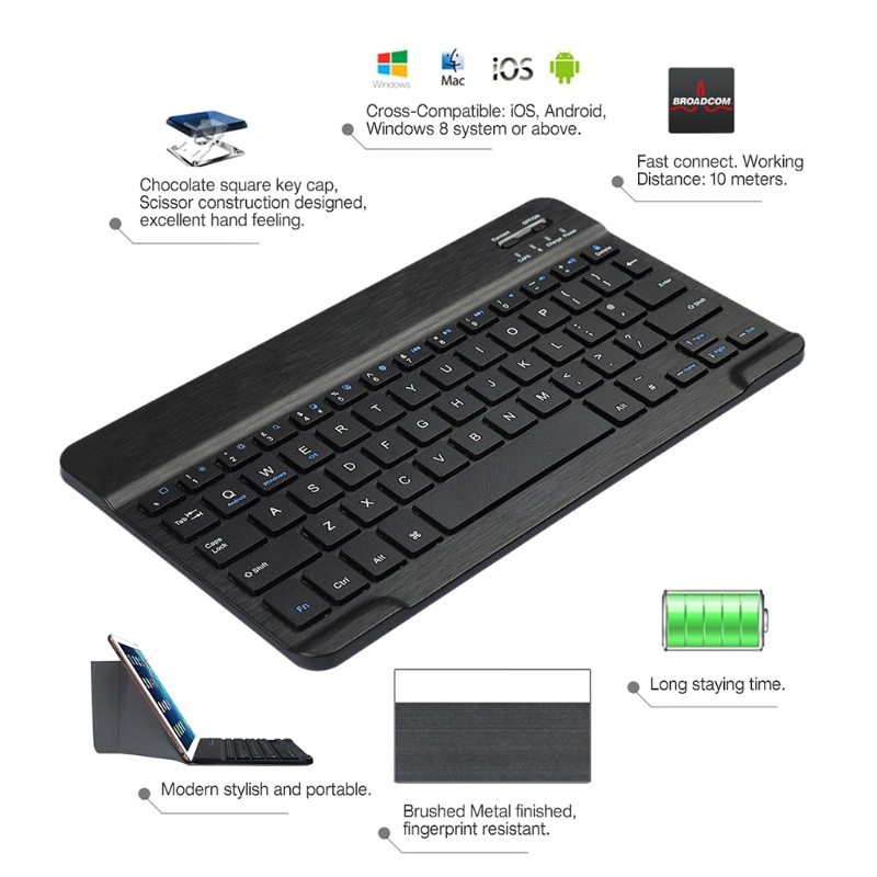 Folding Keyboard Bluetooth Case Leather Cover Folio Stand For 9-10.1 Tablet