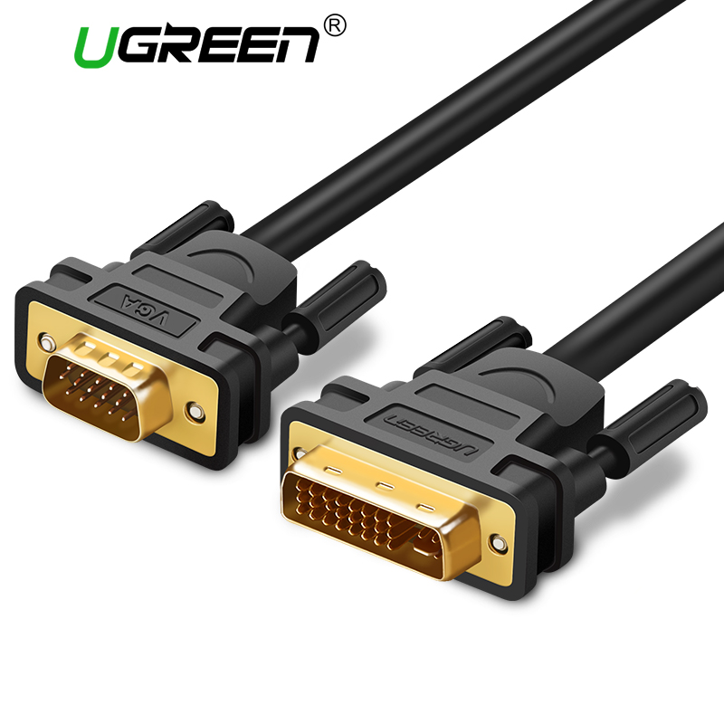 Ugreen 1080P DVI-i 24+5 to VGA Adapter DVI Male to VGA Male Converter Digital Video Cable Adapter for PC Monitor HDTV Projector