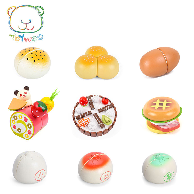 [Toy Woo] Wooden Kitchen Food Tomato Bread Burger Cutting Kids Pretend Play Educational Toy Safety Children Kitchen Toys Игрушка