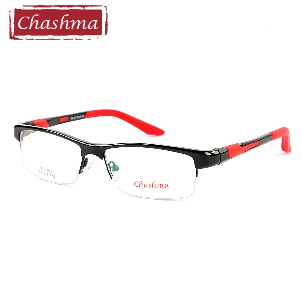 Chashma Brand TR90 Frame Aluminum Magnesium Temple Spring Hinge Fashion Half Frame Eyeglasses Sport Style Glasses Frames for Men