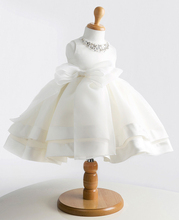 New arrival free shipping big bow flower girl dress girl white princess dresses pegeant dresses for girls first communion dress