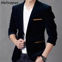1b3f49bcd2d1a7 Helisopus Modo di Marca Blazer Britannico Slim Fit Suit Jacket Mens Terno  Masculino Giacche Da Sposa