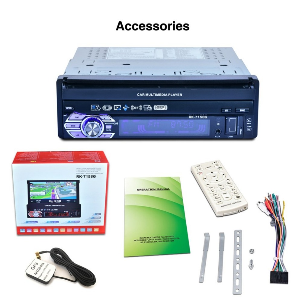 RK 7158G Professional 7 Inch Full Automatic HD Digital Touch Screen MP4 MP5 Car electronics GPS