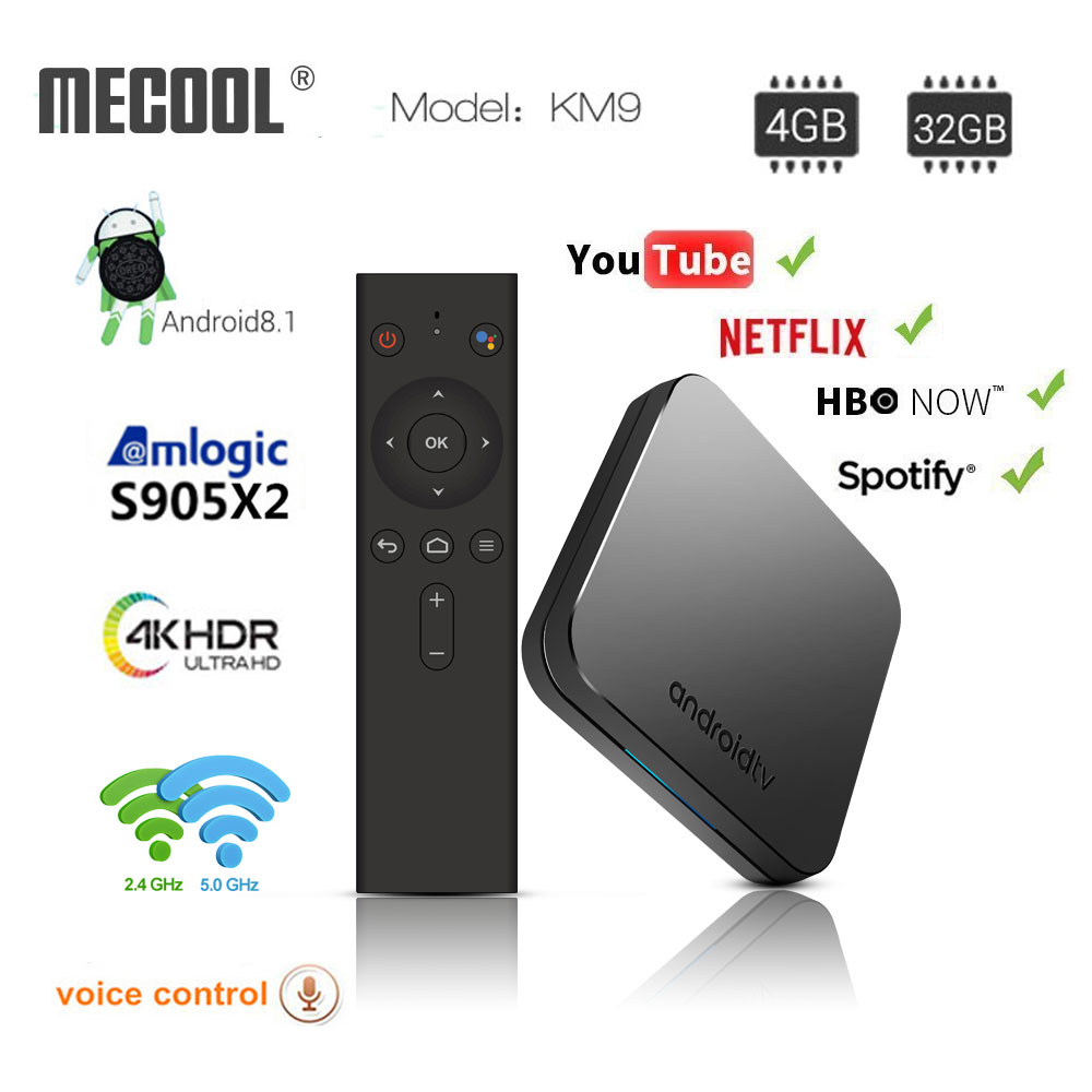 MECOOL KM9 ATV Android 8.1 Smart TV BOX S905X2 4 gb DDR4 RAM 32 gb ROM Set Top Box 4 k 3D 2.4g/5g WiFi media player Android TV Box