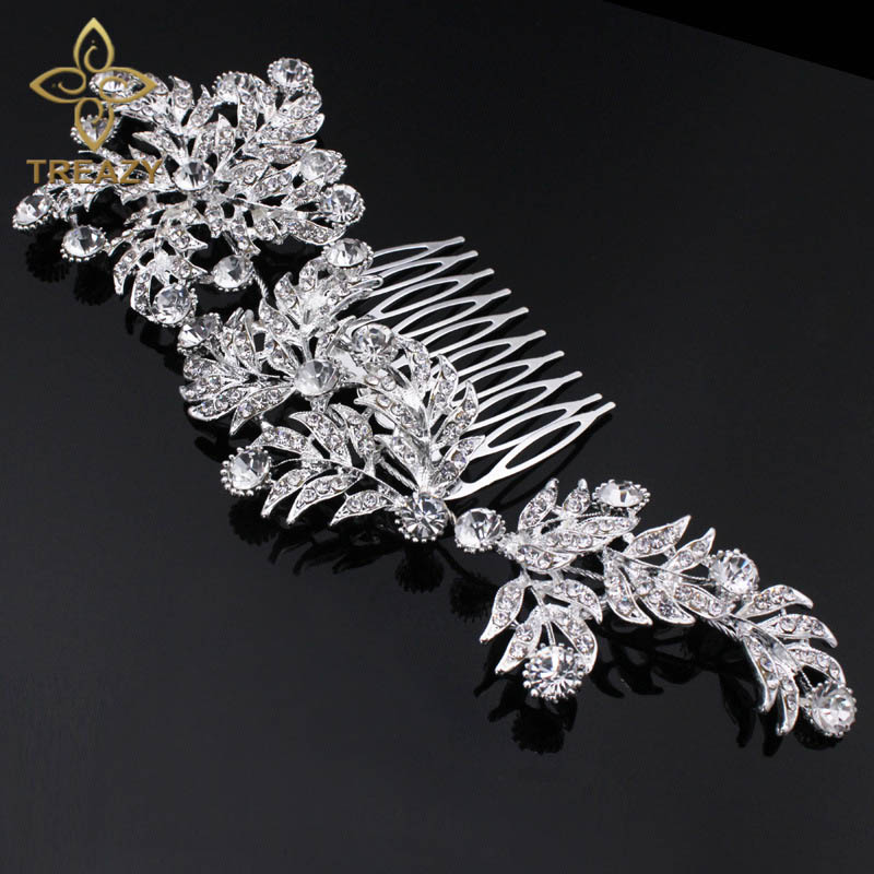 TREAZY Luxury Crystal Bridal Hair Combs for Women Large Leaf Shape Headpiece Rhinestone Wedding Jewelry Accessories,Side Tiara delicate rhinestone leaf link chain hair band for women
