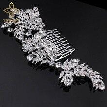 TREAZY Luxury Crystal Bridal Hair Combs for Women Large Leaf Shape Headpiece Rhinestone Wedding Jewelry Accessories