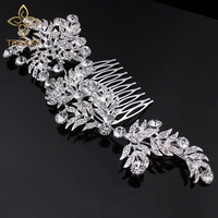 Luxury Crystal Bridal Hair Combs For Women Large Leaf Shape Hairpins Rhinestone Wedding Jewelry Accessories Side