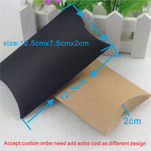Wholesale125x75x20mm DIY kraft  Pillow paper box gift packaging for candy cookie Custom Logo cost logo fee MOQ:500 PCS