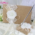 2Pcs/lot New Burlap Hessian Lace Decor Wedding Guest Book& Pen Set Decoration Bridal Products Supplies