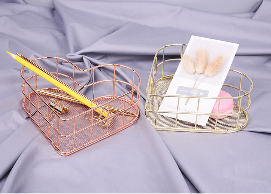 Image 4 - Heart shaped Golden Wrought Iron Storage Basket Simple Rose Gold Metal Baskets Storage Sundries Storages Fruit Basket-in Storage Baskets from Home & Garden
