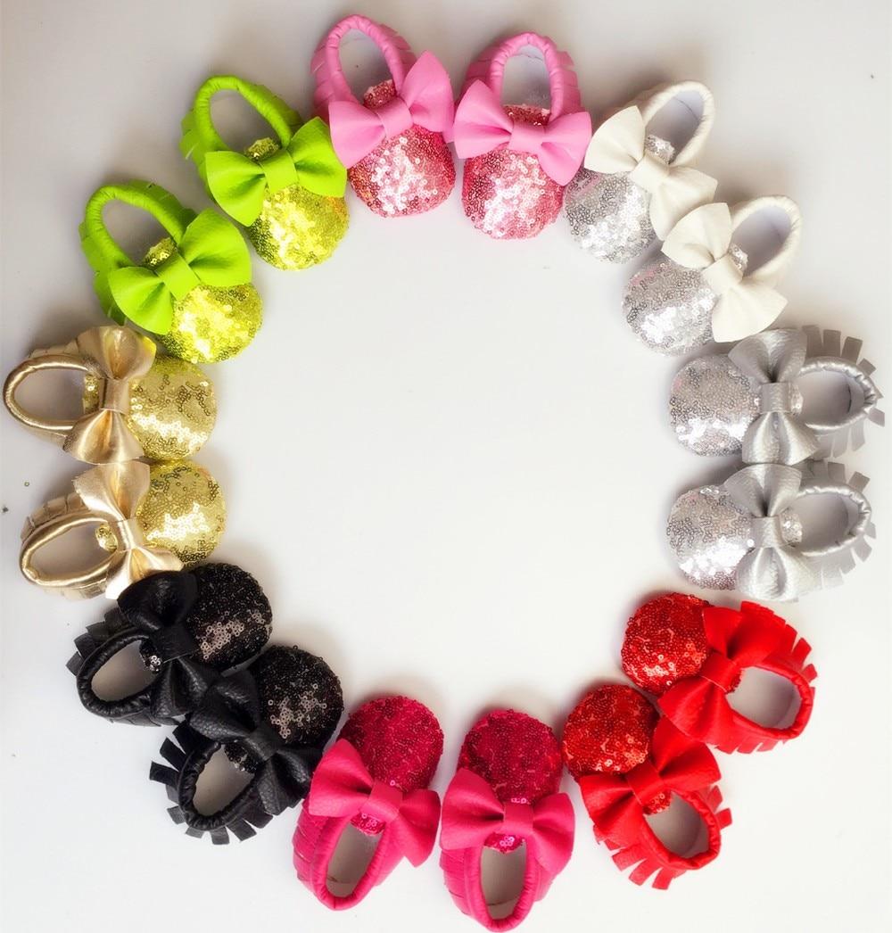Nye 8-farver Tassel Læder Baby Sko Bling Moccasins Baby Toddler Sko Unisex Nyfødte Baby Sko Første Walkers Gratis forsendelse