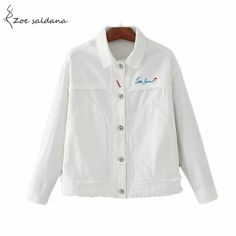 Zoe Saldana 2018 New Winter White Letter Embroidery Jackets Fashion Womens Long Sleeve Turn-down Collar Jean Jacket