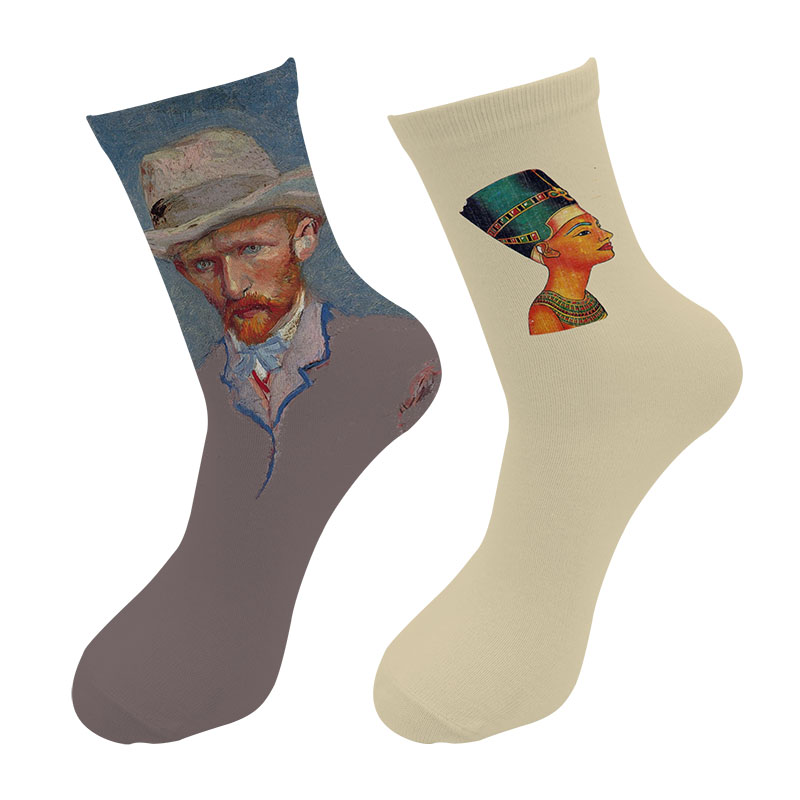New 3d Printed Oil Painting Art Crew Socks Men Van Gogh Self Portrait Long Socks Egypt Cleopatra Retro Painting Tube Socks