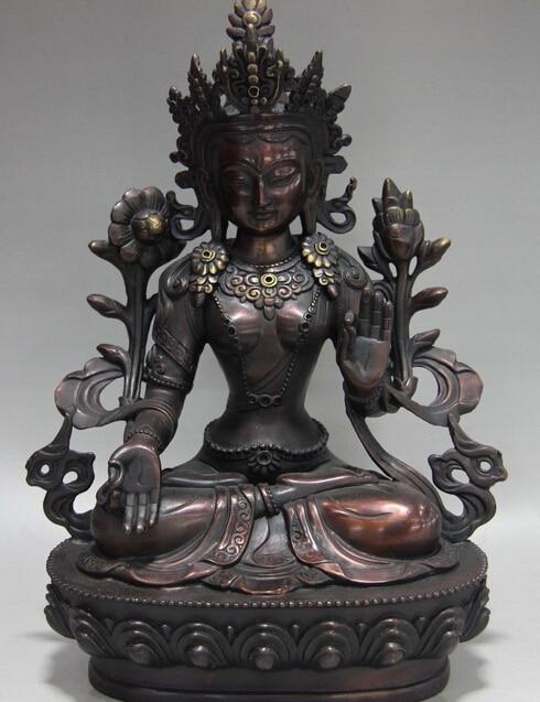 "9.6/""Asia Tibetan Buddhism Red copper Cloisonne comfortable Guanyin Buddha statue"