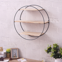 Round wrought iron wall rack vintage solid wood wall rack creative home multi function partition storage shelf lo813220