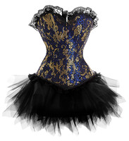 2016 New Dress Costume Burlesque Blue Gold Victorian Brocade Corset Tutu Skirt Outfit Part Halloween Christmas